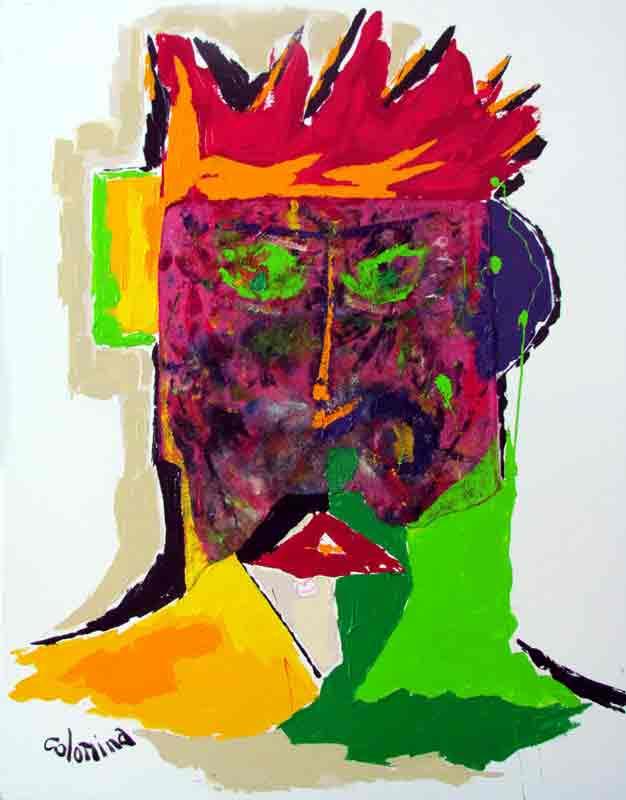 Le masque rose 100x81 cm - Peinture Jorge Colomina