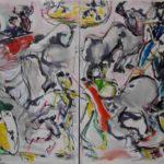 Scènes de tauromachie, peinture en dyptique