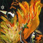 Peinture de Colomina - Le bûcher, de la série à thème sur L'inquisition