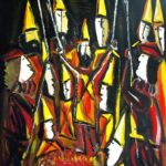 Peinture de Colomina - Le plat de braises, de la série à thème sur L'inquisition