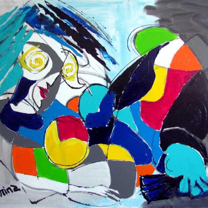 La fille vitrail - Peinture Jorge Colomina