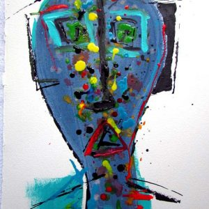 Dessin Jorge Colomina - Sculpture bleue