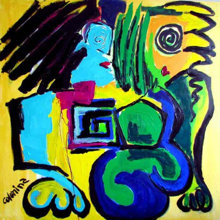 Fais moi un bisous 100x100 cm  - Peinture Jorge Colomina