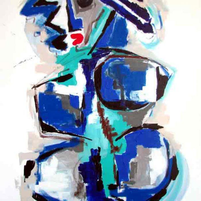 La belle bleue 116x89 cm - Peinture Jorge Colomina