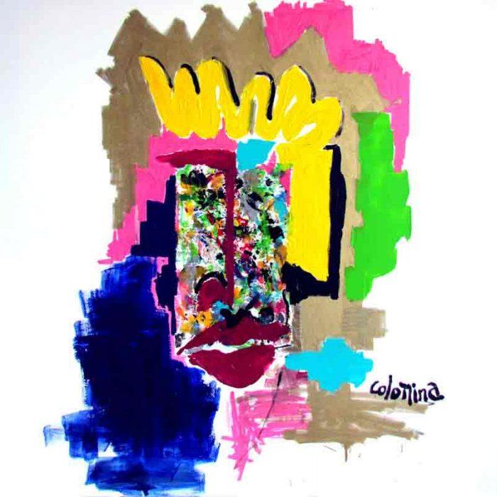 La chevelure dorée 100x100 cm - Peinture Jorge Colomina