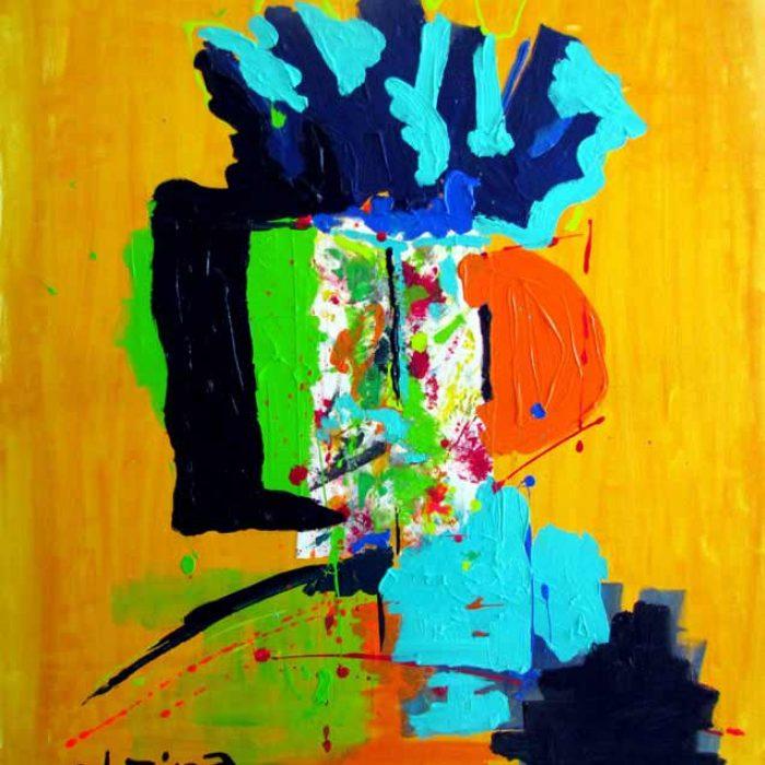 Turquoise fond jaune 100x81 cm - Peinture Jorge Colomina