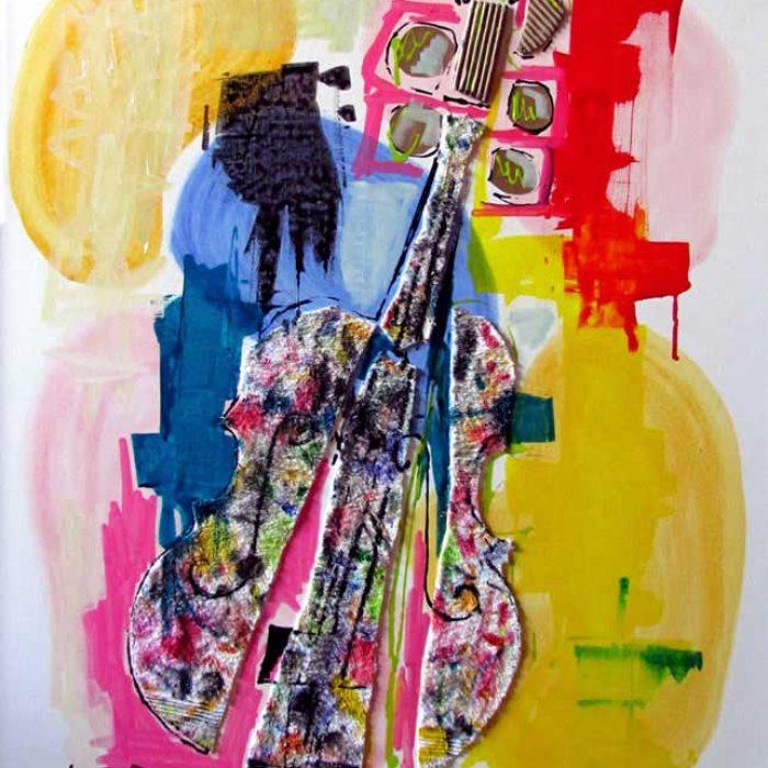 Le violon éclaté 100x81 cm - Peinture Jorge Colomina